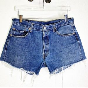 Levi's 501 Buttonfly Distressed Hi Rise Shorts